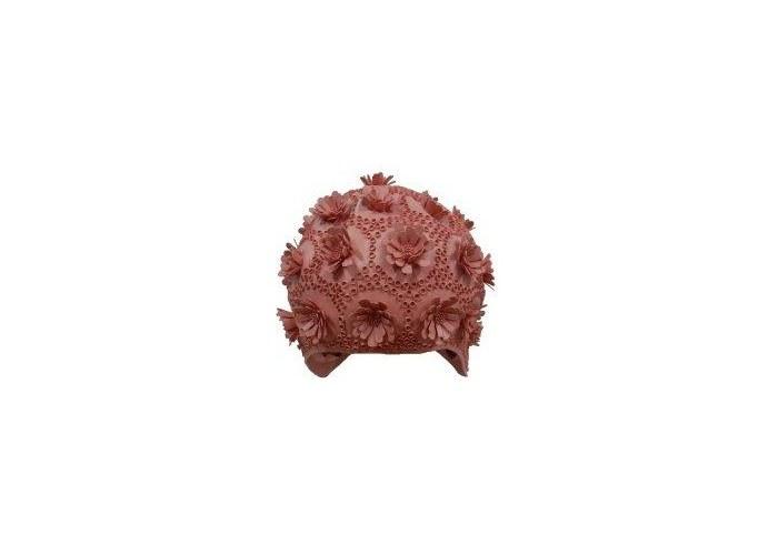 Объемная женская шапочка для плавания 3015-41 из резины с рельефным узором.  Подходит обладательницам длинных волос.