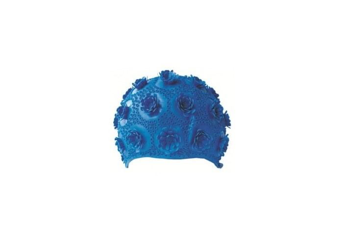 Объемная женская шапочка для плавания 3015-53 из резины с рельефным узором.  Подходит обладательницам длинных волос.